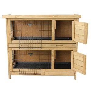 Kaninchenstall / Hasenstall EMMA auf 2 Etagen - 92x45x81 cm - Kleintier-Stall für Draußen. Der wetterfeste, doppelstöckige Stall für 2 Kaninchen - 3