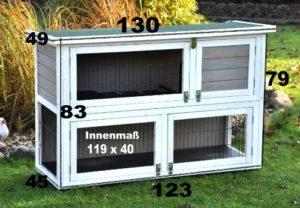 nanook Hasenstall Kaninchenstall Moritz 2, XXL 130 x 49 cm, wetterfest, doppelstöckig, grau weiß - 8