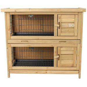 Kaninchenstall / Hasenstall EMMA auf 2 Etagen - 92x45x81 cm - Kleintier-Stall für Draußen. Der wetterfeste, doppelstöckige Stall für 2 Kaninchen - 2