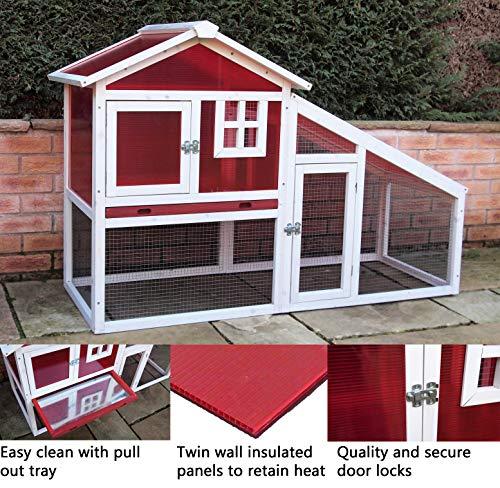 When in Home Kaninchenstall/Meerschweinchenstall, 2-stöckig, isolierter Kunststoff, herausnehmbar, Rot