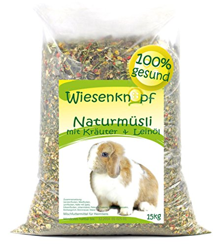 Wiesenknopf 15kg Kaninchenfutter Strukturfutter mit Kräuter, 2×7,5kg Pack